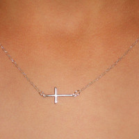 Horizontal cross necklace sterling silver cross necklace minimalist necklace dainty necklace religious jewelry catholic gift