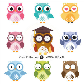 Owl Collection Clipart,owl clipart, clip art,scrapbooking,digital download-BUY 1 GET 1 FREE! Use Code: 1GET12016
