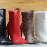 """Jerri Snake Textured Pointy Toe 5"""" High Heel Ankle Boot"""