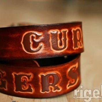 Personalized Leather Belt - Antiqued Brown