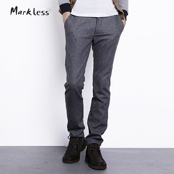Markless Casual Wool Straight Slim Men's Pants Male Fashion Woolen trousers Heavyweight Man Pants For Autumn
