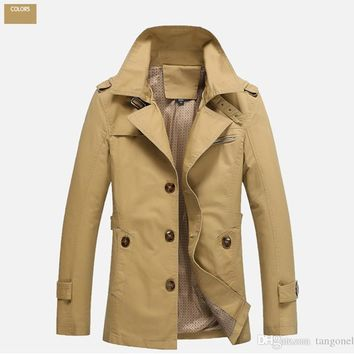 Fashion mens clothing trench coat man Spring and Autumn thin cotton Jacket male overcoat Casual Slim single-breasted Coats Large size M-5XL