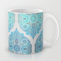 Through Ocean & Sky - tuquoise & blue Moroccan pattern Mug by Micklyn