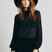 Mesh High Neck Long Sleeve Button Back Shirt
