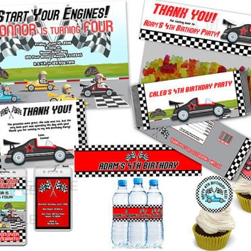 Race Car Party Set - Full Set of Party Supplies Boy Race Cars Package - Pack Invitation Cards Favors Party Kit Boys Red Checkered Custom