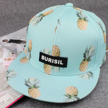Blue Pineapple Print Baseball Cap Hat