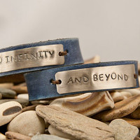 Leather cuff bracelet to infinity and beyond by MichelleVerbeeck