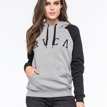Rvca Arc Womens Raglan Hoodie Black Combo  In Sizes