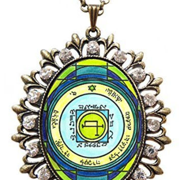Solomons 5th Sun to Quickly Transport Anywhere Huge Antique Gold Bronze Medallion Rhinestone Pendant