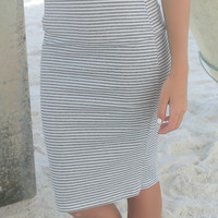 Middleton Beach Gray & White Stripe High Waist Fitted Midi Skirt