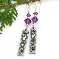 Breathe Yoga Earrings, Crown Chakra Purple Crystals Handmade Linear Word Jewelry