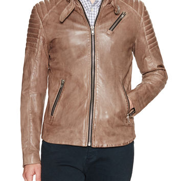 Soia & Kyo Men's Jack Leather Racer Jacket - Beige/Khaki -