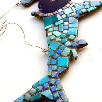 Mosaic Art Glass tile Hammerhead Shark with a Purple Geode Ocean Wall hanging Home Decor