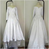 Vintage 1950s-1960s White/Ivory Wedding Dress with Train