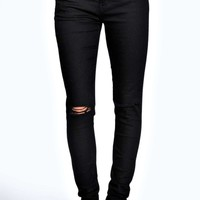 Abby High Rise Ripped Knee Super Skinny Jeans