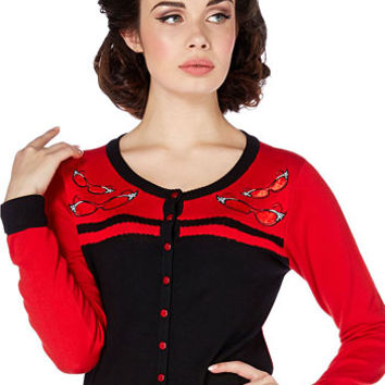 Naughty Secretary Black & Red Cateyes Cardigan