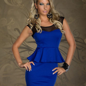 Royal Blue Sleeveless Mesh Peplum Bodycon Dress