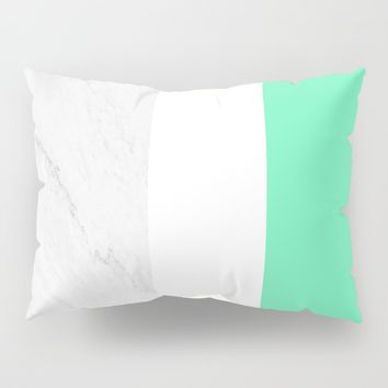 Marble White Mint Pillow Sham by ARTbyJWP