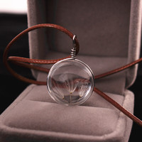 Dandelion glass marble leather necklace +gift box