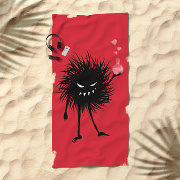 Evil Bug Made A Love Potion For You Beach Towel by borianagiormova