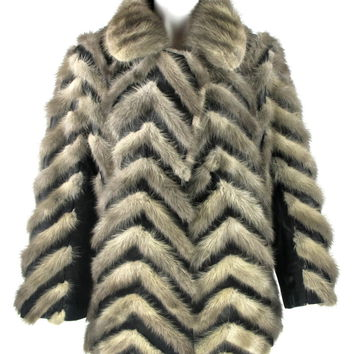 Amazing Vintage 1970'S Silver Grey Fur Mink Coat With Black Leather