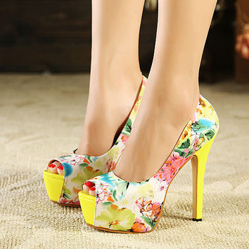 Fashion Round Toe peep Stiletto High Heel Yellow PU Basic Pumps     QJ140301409-1