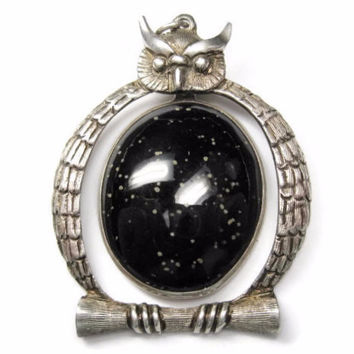 Vintage Mexican Sterling Black Gemstone Owl Pendant