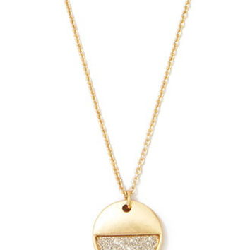 Glittered Circle Charm Necklace