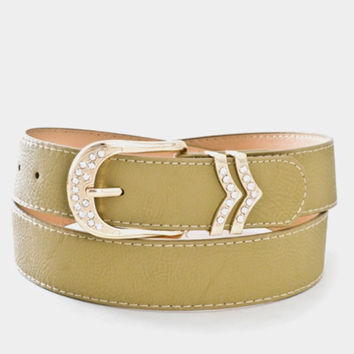 Rhinestone Accent Buckle Leather Belt