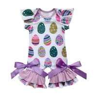 Baby Girl Romper Newborn Baby First Easter Outfit Easter Egg Printed Cotton Jumpsuit Infant Girl Ruffle Design Onesuit Clothes