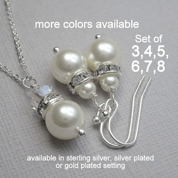 Bridesmaid Jewelry Set, 3 Swarovski White Pearl Necklace and Earring Sets, Bridesmaid Gift Set