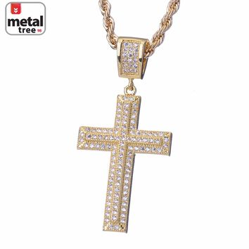 "Jewelry Kay style Men's Fashion Solid 14k Plated Gold Gods Micro Cross Pendant 24"" Rope Chain Set"