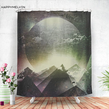 Always dream big - Shower curtain - Bathroom decor - Home decor - Boho - Mountain - Moon - Adventure - Wanderlust - Nature - Curtains.