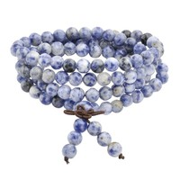 Ayliss 1pc Hot 6mm 8mm Natural Sodalite Stone Healing Gem Stone 108 Buddhist Prayer Beads Tibetan Mala Stretch Bracelet Necklace