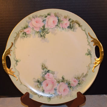Triple Crown China Germany Floral Rose Serving Tray/Plate Vintage Gold Double Handles Soft Pink Rose Spray Shabby Chic Cottage Chic Tray