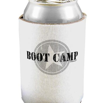 Boot Camp Distressed Text Can / Bottle Insulator Coolers by TooLoud