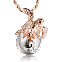 Sterling Silver and Rose Gold Baby Turtle Shell Hatchling Pendant Necklace
