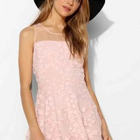JOA Blossom Embroidered Organza Fit + Flare Dress- Pink