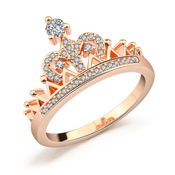 DROLE Rose Gold Color Crown Shaped Zircon Zirconia CZ Rings for Women Promise Ring Engagement Wedding Fashion Jewelry