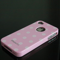 Baby Pink Pearl Shining polka dot pattern silicone case cover for iPhone 4 4G 4S