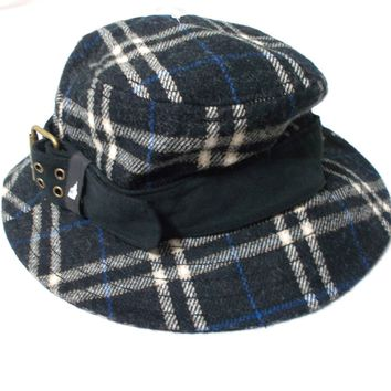 London Fog Wool Plaid Bucket Hat with Buckle Black White Blue Women's S/M