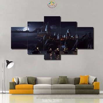 4-5 Pieces Mysterious Castle Hogwarts Wall Art Canvas Painting Art Print Picture Frame Modern Pictures for Living Room