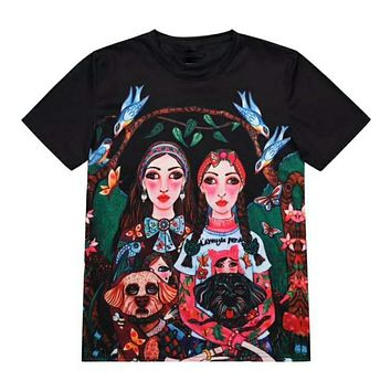 GUCCI Trending Casual Stylish Two Girls With Two Dogs Draw Cartoon Characters Print Short Sleeve T-Shirt Top Black I12124-1