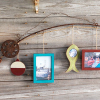 Decorative Hanging Fishing Pole with 3 Photo Picture Frames 34-in
