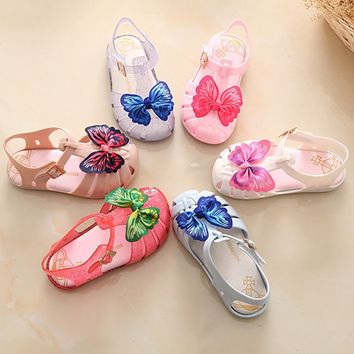 Mini Melissa Twins Cloth Bow Butterfly Print 2018 Summer Girls Sandals Kids' Mini Mary Jane Flat New Shoes Hook Loop US8-US13