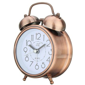 Vintage Retro Silent Pointer Bell Clocks Dual Bell Loud Alarm Clock Bedside Night Light Home Decors