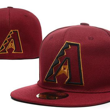 LMFON Arizona Diamondbacks New Era 59FIFTY MLB Hat Red-Black
