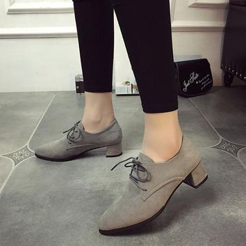CREYCT9 Summer Pointed Toe Suede With Heel Anti-skid Strong Character Shoes [9432945354]