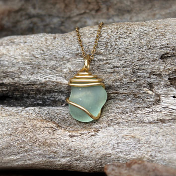 Sea Glass Necklace - Hawaiian Jewelry - Bohemian Necklace Boho Jewelry from Hawaii Gypsy Jewelry Aqua Blue Seaglass Necklace made in Hawaii
