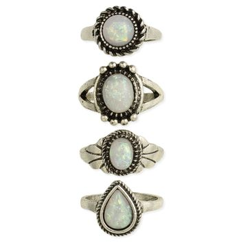 Opal & Silver Band Ring